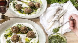 Image for Spicy Lamb Meatballs with Mint Pesto and Greek Yogurt