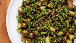 Image for Mairlyn Smith's potato and asparagus salad with basil and arugula pesto