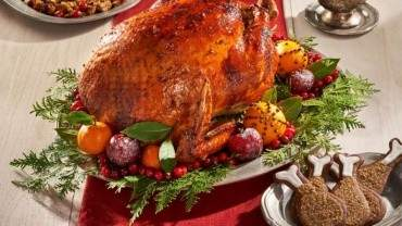 Image for Chef Andrea Buckett's roast turkey with gingerbread glaze