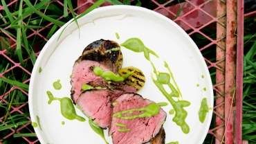 Image for Araxi's whole grilled beef tenderloin with green tomato salsa