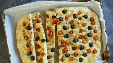 Image for cherry tomato focaccia recipe from the Cooking with Mamma Marzia cookbook