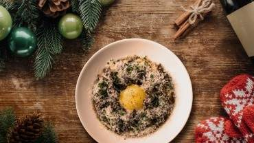 Image for Bridgette Bar's mascarpone polenta with glazed mushrooms, fried egg, and Parmesan