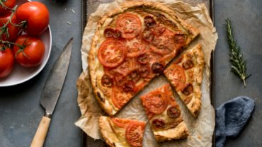 Image for French tomato tart recipe from the Bisous and Brioche cookbook