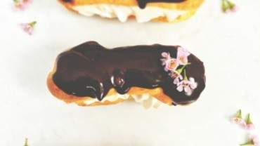 Image for Renee Kohlman's raspberry- and cream-filled éclairs with chocolate glaze