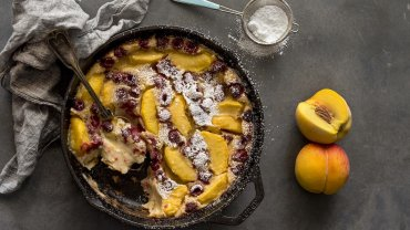 Image for Peach and raspberry clafoutis from the Bisous and Brioche cookbook