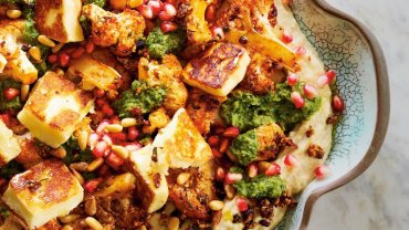 Image for Chef Peter Sanagan's roasted cauliflower with hummus and halloumi