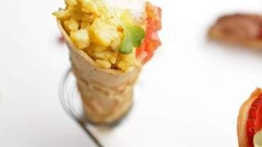Image for MasterChef Junior competitor Zac Kara's savoury breakfast waffle cone