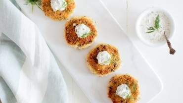 Image for Jillian Harris's and Tori Wesszer's smoked salmon cakes with dill and tartar sauce