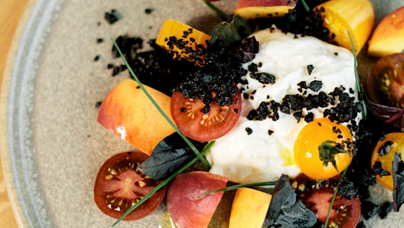 Image for 1909 Kitchen's Heirloom peach, burrata and tomato salad