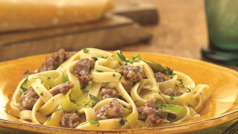 Image for Creamy fettuccine with Italian sausage and leeks
