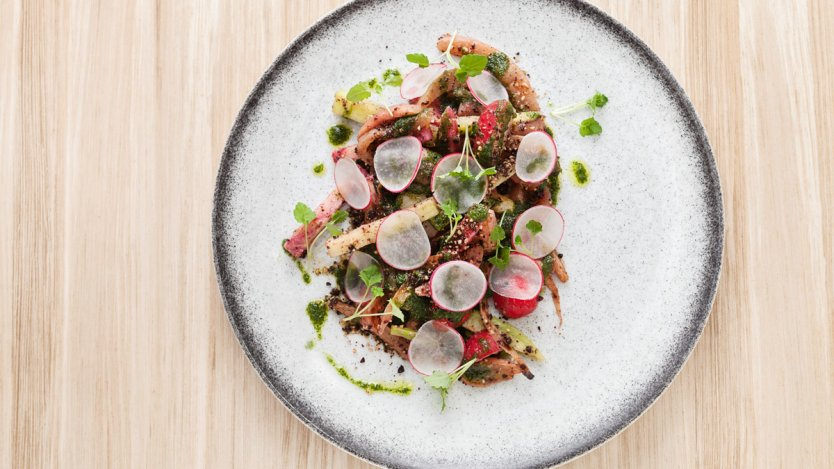 Image for Beach Bay Cafe's radish salad with olive soil and tarragon oil