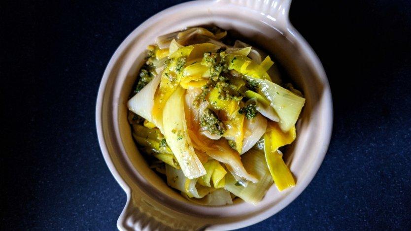 Image for Braised leeks with sunflower seed pesto