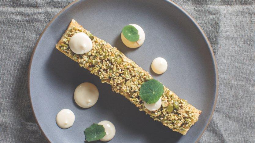 Image for Chef Andrea Carlson's celeriac pavé with white miso