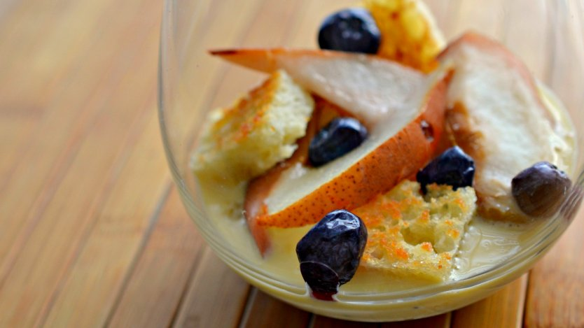 Earl grey-infused creme anglaise with roasted fruit