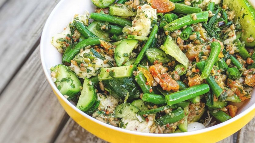 Image for Green bean and grilled scallion salad with sunflower seed pesto
