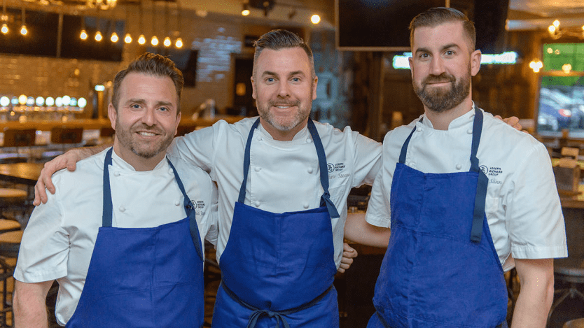 (left to right JRG Corporate Chef David Jorge (MasterChef Canada winner), JRG Director of Culinary Operations Matthew Stowe (Top Chef Canada winner) and JRG Executive Chef Andy Slinn)