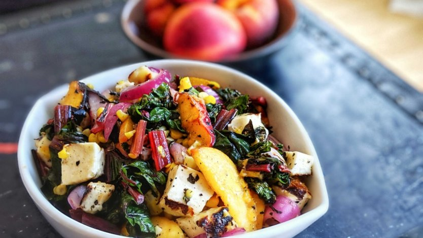 Image for Grilled chard and halloumi salad