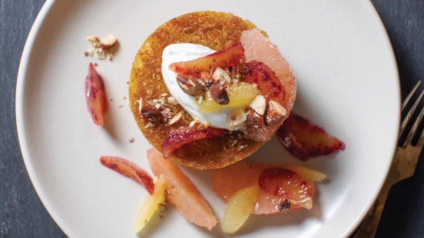 Image for Burdock & Co.'s olive oil cake, citrus salad, apricot kernel yogurt