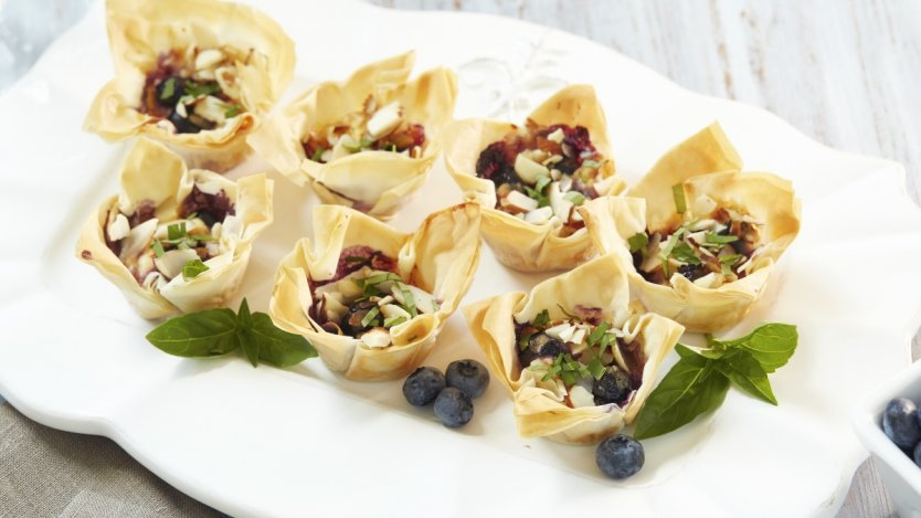 Image for B.C. blueberry goat cheese sweet chili phyllo cups