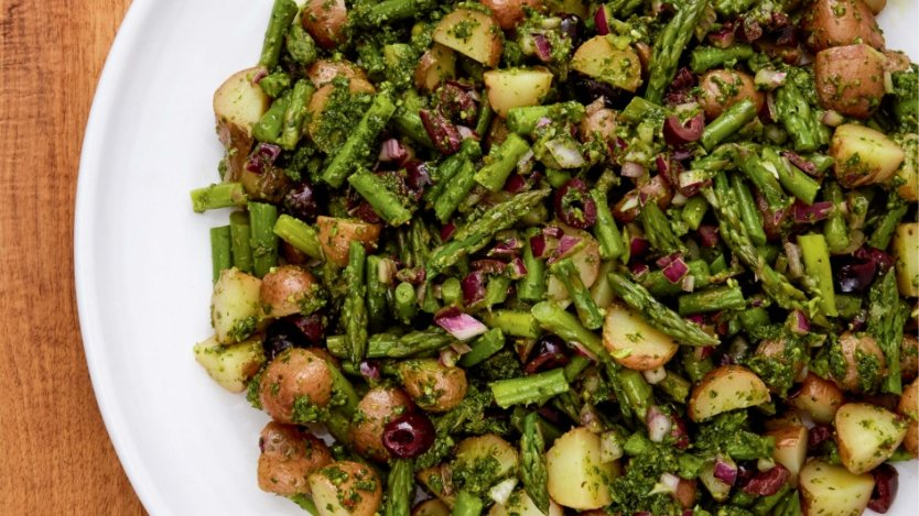 Image for Mairlyn Smith's potato and asparagus salad with basil and arugula pesto