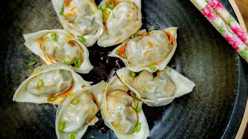 Image for Shrimp dumplings with XO sauce