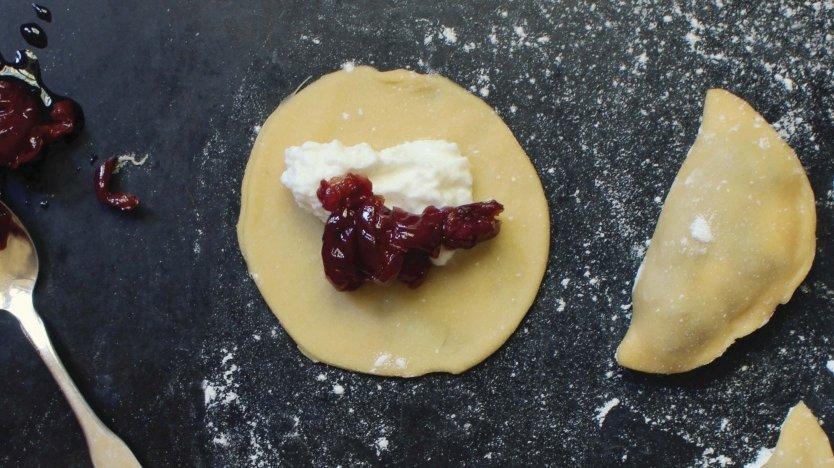 Image for Renée Kohlman's sour cherry and ricotta perogies