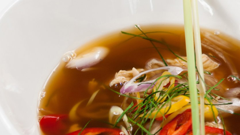 Thai Hot And Sour Soup With Shredded Chicken And Lemongrass Eat North