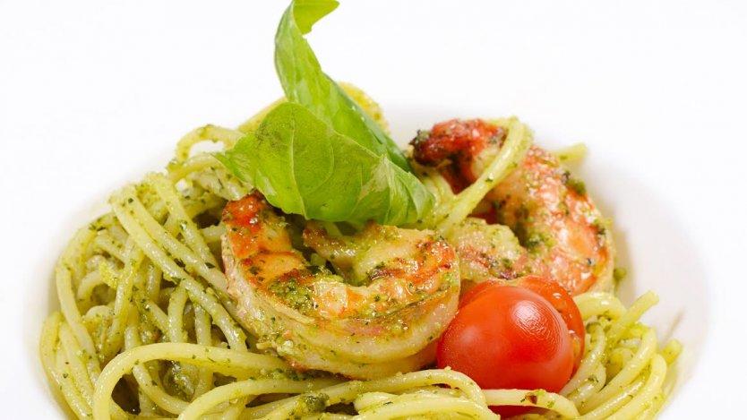 Image for Camelina pesto pasta with shrimp