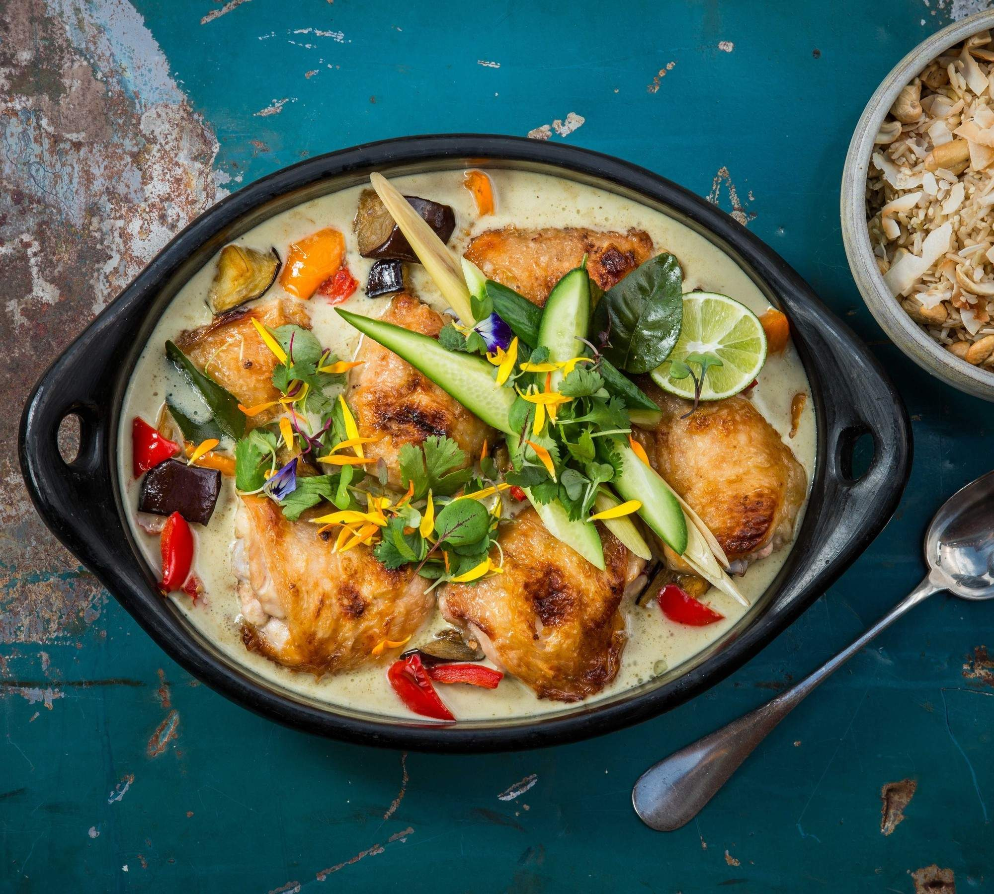 Green curry chicken with roasted eggplant and red peppers
