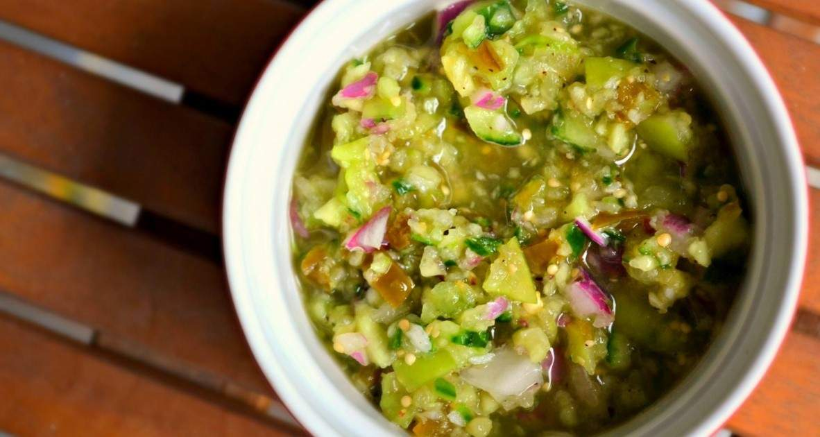Tomatillo and shallot pico de gallo | Eat North