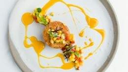 Image for Araxi's dungeness crab cakes with corn salsa