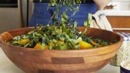 Image for Christine Tizzard's beet greens and kale Caesar salad recipe from