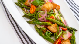 Image for Charred spring asparagus panzanella recipe