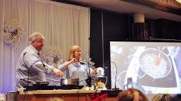 Chefs Michael Olson and Anna Olson at Christmas in November in Jasper, AB.
