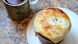 Wine poached pear pot pie