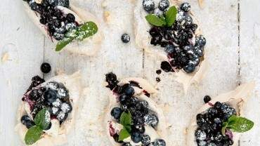 Image for Araxi's lavender meringues with blueberries and mint
