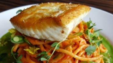 Image for Charlie's Little Italian bucatini Romesco with Haida Gwaii halibut