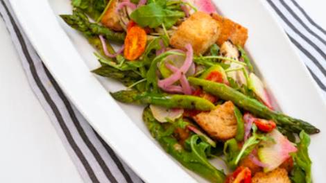 Image for Charred spring asparagus panzanella recipe