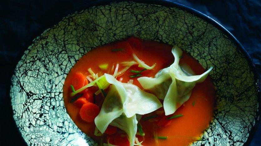 Image for Lynn Crawford's carrot lemongrass soup with ginger pork dumplings