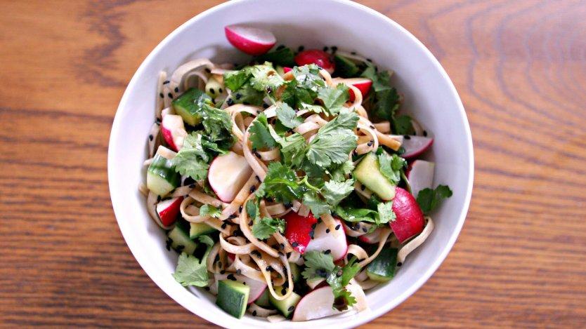 Radish and sesame soy noodle salad