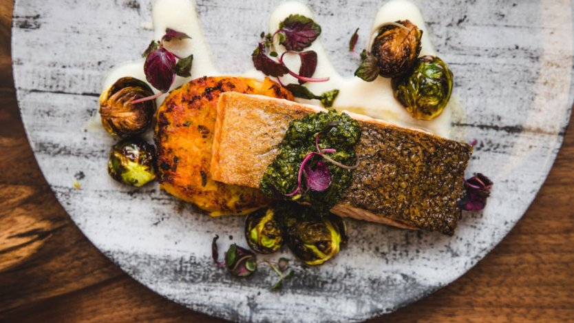 Image for Epic restaurant's salmon with maple sunchoke puree and chimichurri sauce
