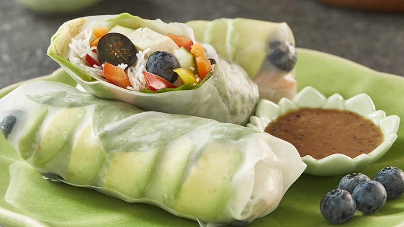Image for Vegetable blueberry spring rolls with B.C. blueberries